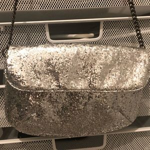 J. Crew Silver Sequined Evening Bag